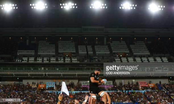 New Zealand's lock Patrick Tuipulotu catches the ball in a line out during the Japan 2019 Rugby World Cup Pool B match between New Zealand and South...