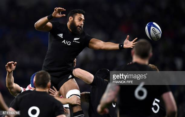 New Zealand's lock Patrick Tuipulotu jumps for the ball during the international rugby union test match between France and the New Zealand All Blacks...