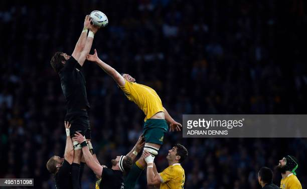 New Zealand's lock Sam Whitelock vies against Australia's lock Dean Mumm in a lineout during the final match of the 2015 Rugby World Cup between New...