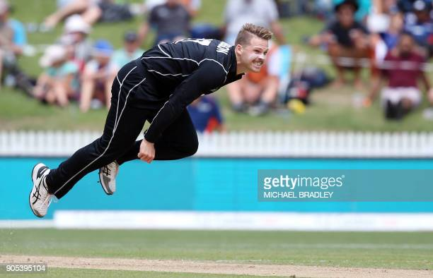 New Zealand's Lockie Ferguson bowls during the fourth oneday international cricket match between New Zealand and Pakistan at Seddon Park in Hamilton...