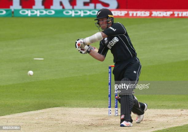 New Zealand's Luke Ronchi bats during the ICC Champions Trophy Warmup match between India and New Zealand at The Oval in London on May 28 2017 / AFP...