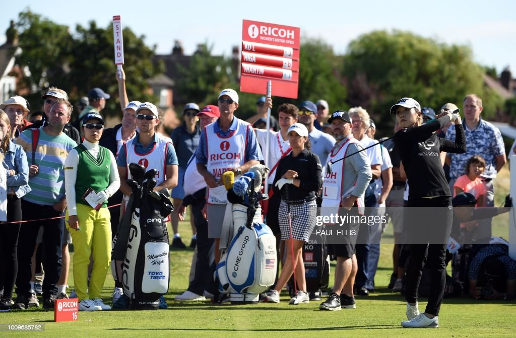 New Zealand's Lydia Ko plays off the 16th tee on the first day of the 2018 Women's British Open Golf Championships at Royal Lytham & St. Annes Golf Club, northwest England, on August 2, 2018.
