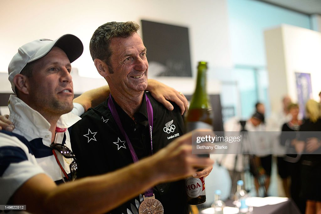 New Zealand's Mark Todd poses for photos with fans during a Visit Kiwi House on August 1, 2012 in London, England. New Zealand won their first medal at the London Olympics after they picked up bronze in the team's competition of the three-day eventing.