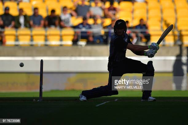 New Zealand's Martin Guptill bats during the first Twenty20 cricket match between New Zealand and England at Westpac Stadium in Wellington on...