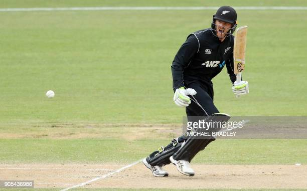 New Zealand's Martin Guptill bats during the fourth oneday international cricket match between New Zealand and Pakistan at Seddon Park in Hamilton on...