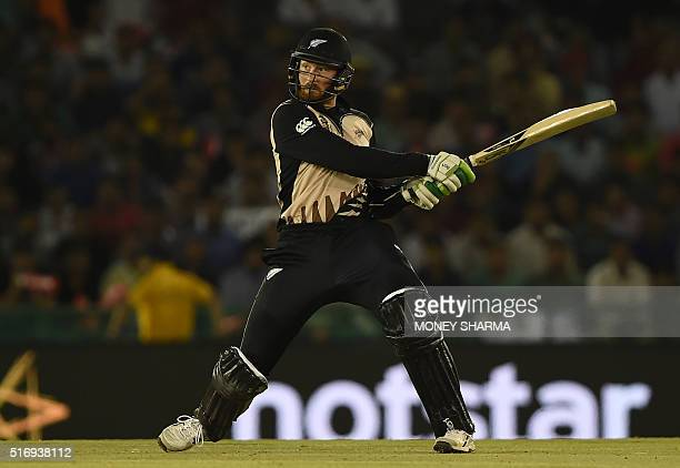 New Zealand's Martin Guptill plays a shot during the World T20 cricket match between New Zealand and Pakistan at the Punjab Cricket Stadium...