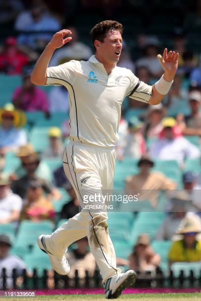 New Zealands Matt Henry reacts to a close catch during the first day of the third cricket Test match between Australia and New Zealand at the Sydney...