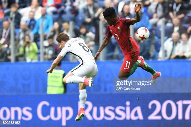 New Zealand's midfielder Michael McGlinchey vies with Portugal's defender Nelson Semedo during the 2017 Confederations Cup group A football match...