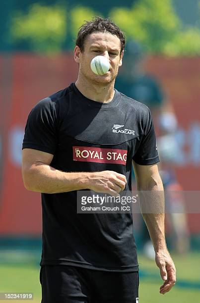New Zealand's Nathan McCullum bowling in the nets at training ahead of New Zealand's first ICC World T20 game on September 19 2012 in Kandy Sri Lanka