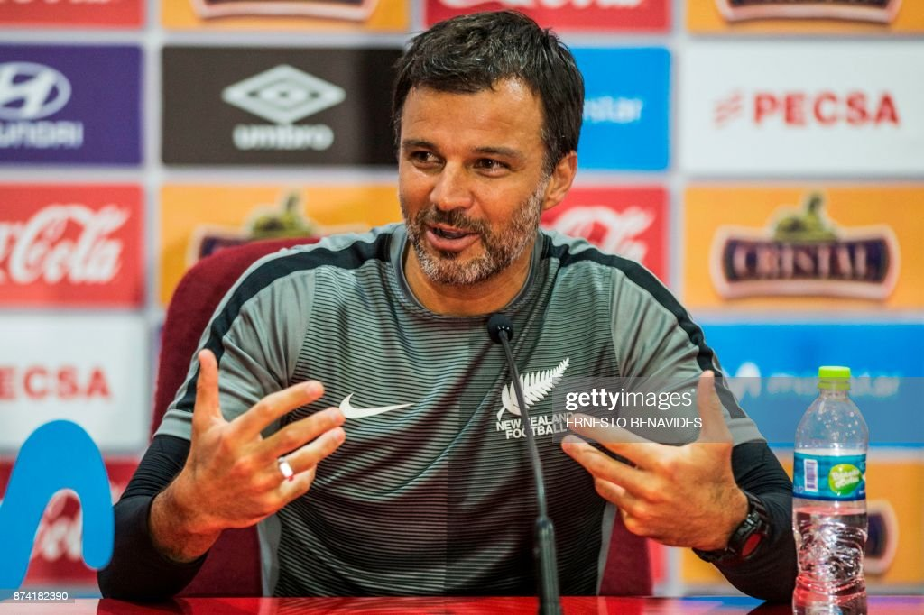 New Zealand's national soccer team coach Anthony Hudson, speaks during a press conference in Lima on November 14, 2017 on the eve of the 2018 World Cup qualifying play-off second leg match against Peru. /