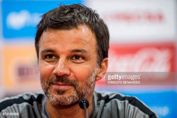 New Zealand's national soccer team coach Anthony Hudson speaks during a press conference in Lima on November 14 2017 on the eve of the 2018 World Cup...