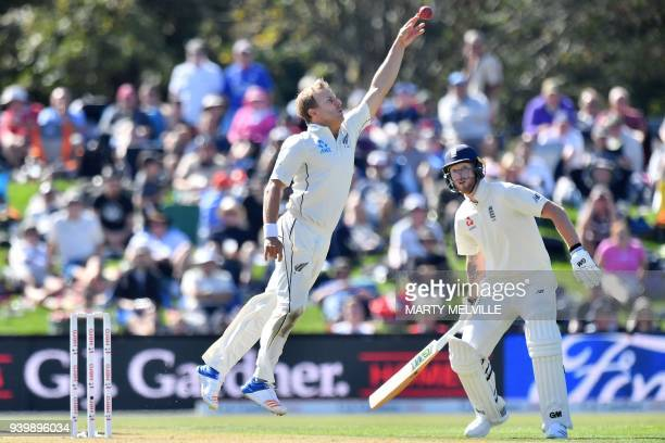New Zealand's Neil Wagner attempts to catch England's Ben Stokes as England's Jonny Bairstow watches during day one of the second cricket Test match...