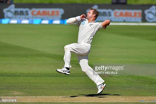 New Zealand's Neil Wagner bowls during day four of the second international Test cricket match between New Zealand and Bangladesh at Hagley Park Oval...