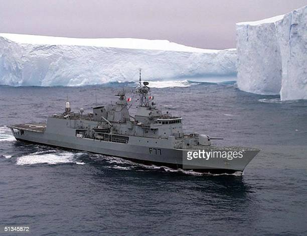 New Zealand's new frigate Te Kaha patrols past the Ross Ice Shelf in the Southern Ocean in Antarctica 13 February on guard for pirate toothfishing...