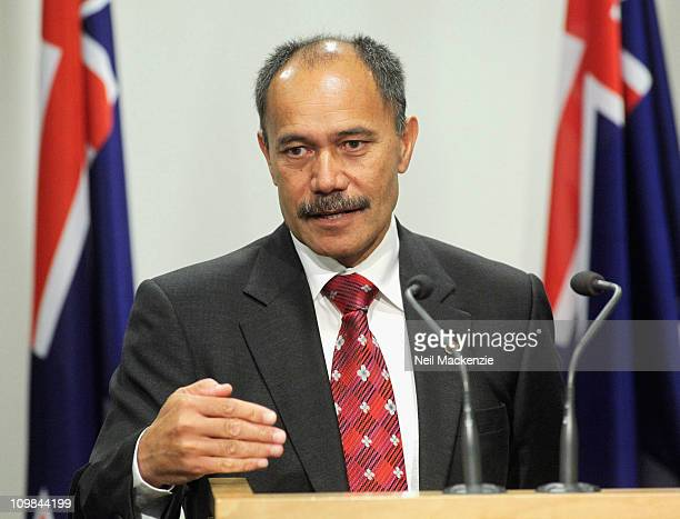 New Zealand's next GovernorGeneral Lieutenant General Jerry Mateparae addresses the media at the Beehive Theatrette on March 8 2011 in Wellington New...