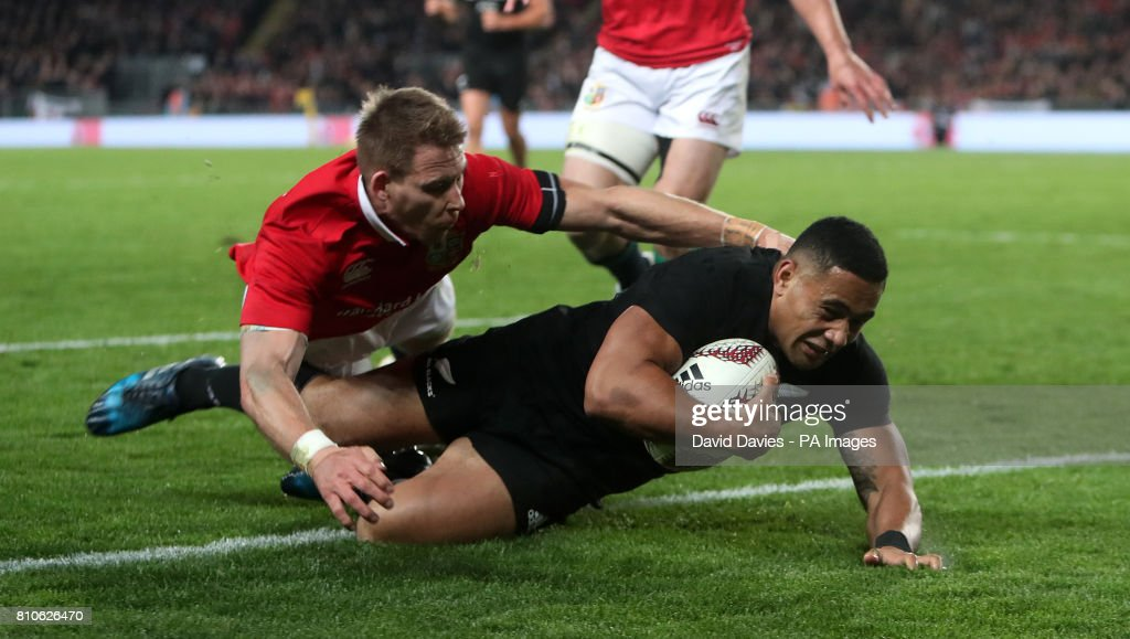 New Zealands Ngani Laumape Scores Their First Try During The Third Test Of 2017 British