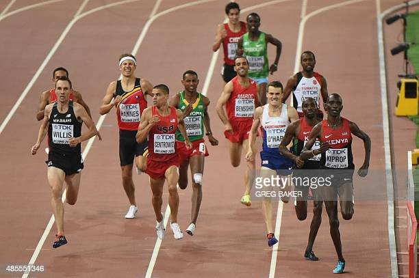 New Zealand's Nicholas Willis USA's Matthew Centrowitz Britain's Chris O'Hare and Kenya's Asbel Kiprop compete in the semifinal of the men's 1500...