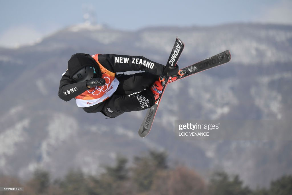 TOPSHOT - New Zealand's Nico Porteous competes in a run of the men's ski halfpipe final during the Pyeongchang 2018 Winter Olympic Games at the Phoenix Park in Pyeongchang on February 22, 2018. /