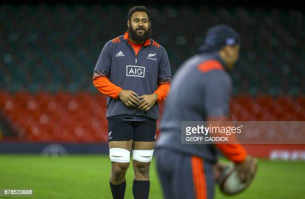 New Zealand's Patrick Tuipulotu attends a training session at the Principality Stadium in Cardiff south Wales on November 24 the eve of the their...