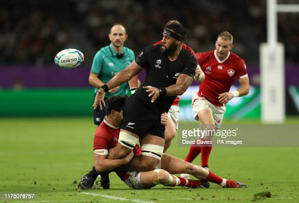 New Zealand's Patrick Tuipulotu in action during the 2019 Rugby World Cup match at Oita Stadium, Japan.
