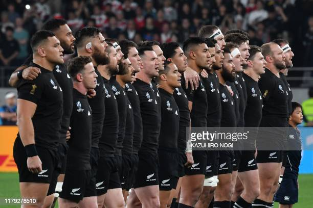 New Zealand's players line up for the national anthem prior to the Japan 2019 Rugby World Cup bronze final match between New Zealand and Wales at the...