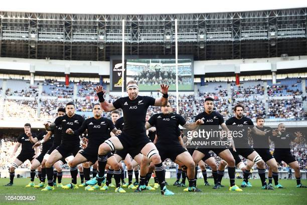 New Zealand's players perform the Haka before before the Bledisloe Cup rugby union Test match between the New Zealand All Blacks and Australia at...
