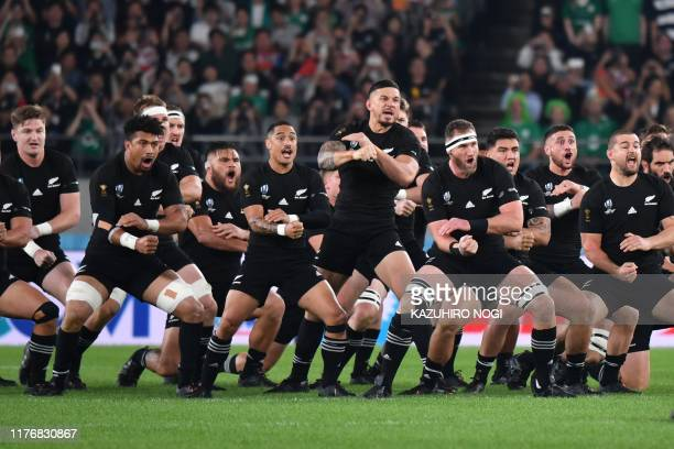 TOPSHOT New Zealand's players perform the haka before the Japan 2019 Rugby World Cup quarterfinal match between New Zealand and Ireland at the Tokyo...
