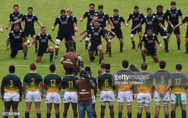 TOPSHOT New Zealand's players perform the haka dance before the U20 World Rugby Union Championship 3rd place match South Africa vs New Zealand at the...