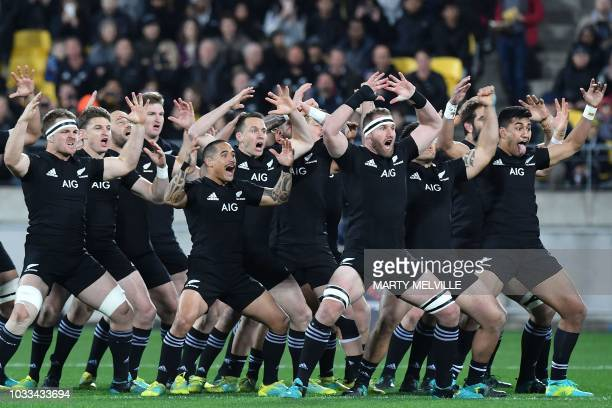 TOPSHOT New Zealand's players perform the Haka during the Rugby Championship match between the New Zealand All Blacks and South Africa at Westpac...