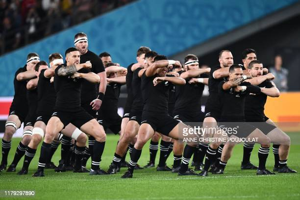 TOPSHOT New Zealand's players perform the haka prior to the Japan 2019 Rugby World Cup bronze final match between New Zealand and Wales at the Tokyo...