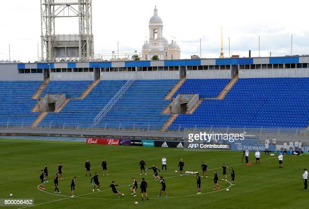 New Zealand's players take part in a training session at the Petrovsky Stadium in Saint Petersburg on June 23, 2017 on the eve of the 2017 FIFA...