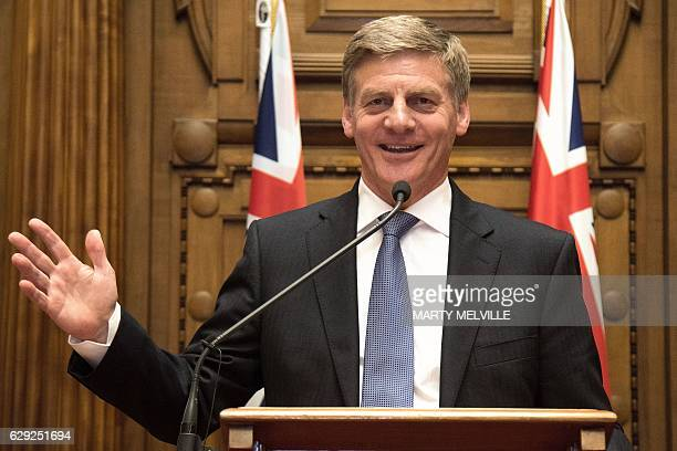 New Zealand's Prime Minister Bill English speaks to the media during a press conference at Parliament in Wellington on December 12 2016 New Zealand's...