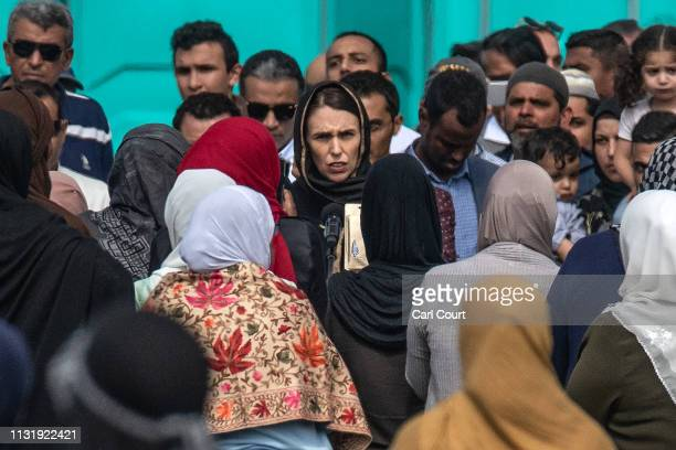 New Zealand's Prime Minister Jacinda Ardern arrives to attend islamic prayers in a park near Al Noor mosque on March 22 2019 in Christchurch New...