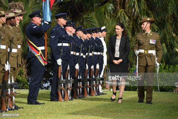 New Zealand's Prime Minister Jacinda Ardern inspects the troops at a ceremonial welcome at Admiralty House in Sydney on March 2 2018 Ardern is with...