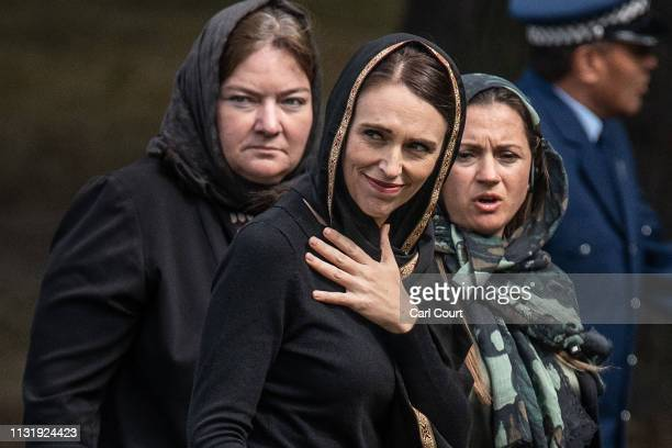 New Zealand's Prime Minister Jacinda Ardern leaves after attending Islamic prayers in a park near Al Noor mosque on March 22 2019 in Christchurch New...