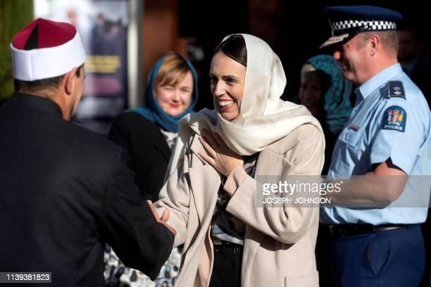 New Zealand's Prime Minister Jacinda Ardern meets with members of the Muslim community at the Al Noor mosque prior to Britain's Prince William visit...