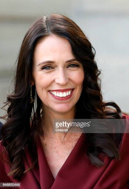 New Zealand's Prime Minister Jacinda Ardern poses after her meeting with French president Emmanuel Macron at the Elysee Palace on April 16 2018 in...