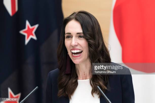 New Zealand's Prime Minister Jacinda Ardern speaks during a joint press conference with Japan's Prime Minister Shinzo Abe on September 19 2019 in...