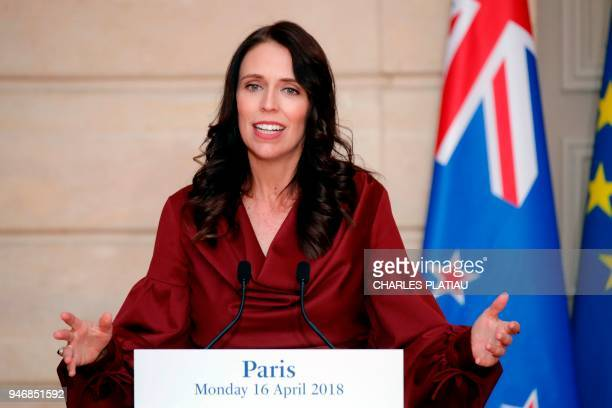 New Zealand's Prime Minister Jacinda Ardern speaks during a joint press conference with the French President following their meeting at the Elysee...