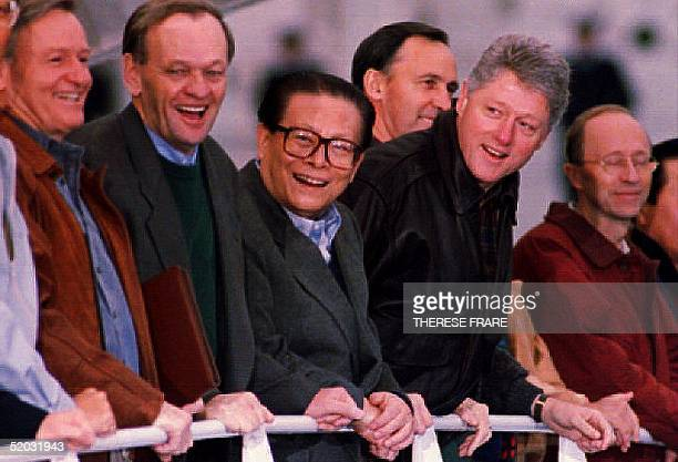 New Zealand's Prime Minister James Bolger Canadian Prime Minister Jean Chretien Chinese President Jiang Zemin US President Bill Clinton Australian...