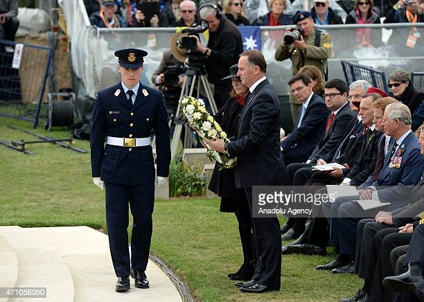 New Zealand's Prime Minister John Key and his wife Bronagh lay a wreath at the Lone Pine memorial during a memorial service on the occasion of the...