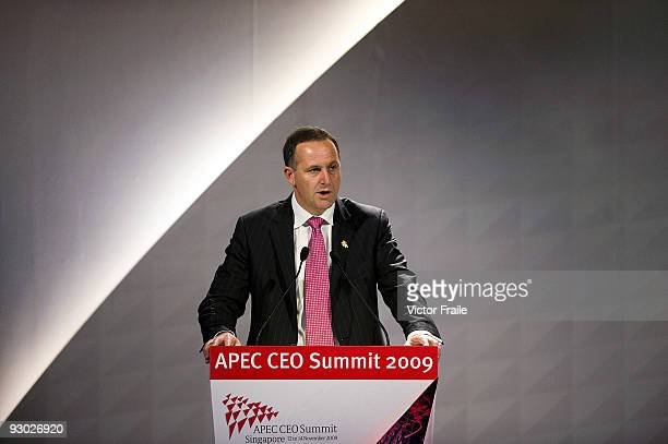 New Zealand's Prime Minister John Key attends the first day of the Asia Pacific Economic Cooperation CEO Summit at the Suntec Singapore International...