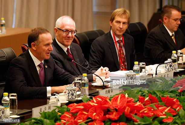 New Zealand's Prime Minister John Key speaks during a meeting with China's President Xi Jinping on the sidelines of the Boao Forum for Asia in Boao...