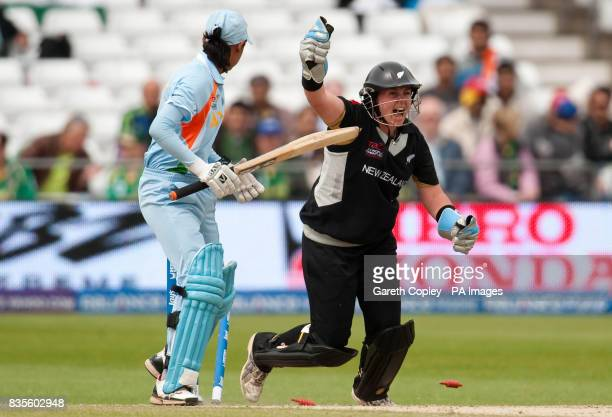 New Zealand's Rachel Priest celebrates after India's Harmanpreet Kaur is bowled by Sian Ruck during the Women's ICC World Twenty20 Semi Final at...