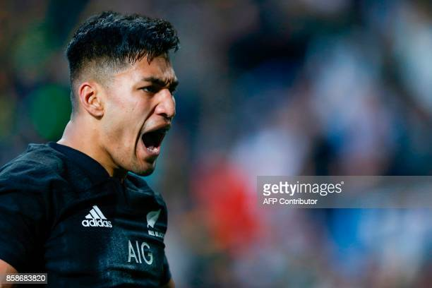 New Zealand's Rieko Ioane celebrates after scoring a try during the Rugby test match between South Africa and New Zealand at Newlands Rugby stadium...