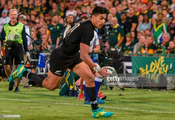 New Zealand's Rieko Ioane scores a try during the Rugby Championship match between South Africa and New Zealand at the Loftus Versfeld stadium in...