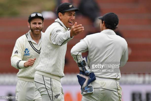 New Zealand's Ross Taylor C celebrates Bangladesh's Shadman Islam being caught by team mate keeper BJ Watling R with captain Kane Williamson during...