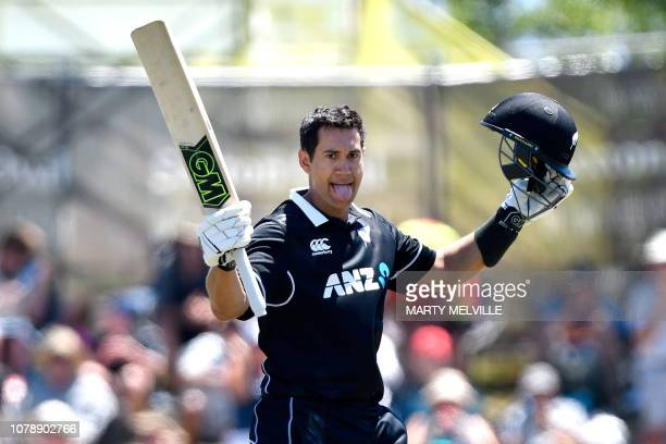 New Zealand's Ross Taylor celebrates 100 runs during the third ODI cricket match between New Zealand and Sri Lanka at Saxton Field in Nelson on...