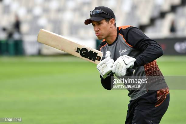 New Zealand's Ross Taylor warms up during day five of the 2nd Test cricket match between New Zealand and Bangladesh at the Basin Reserve in...
