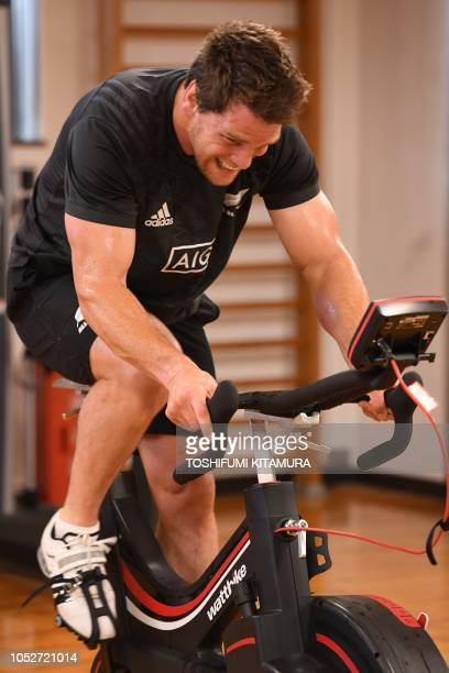 New Zealand's rugby team All Blacks' Matt Todd works out during a training session at a gym in Tokyo on October 22 2018 The All Blacks are in Tokyo...